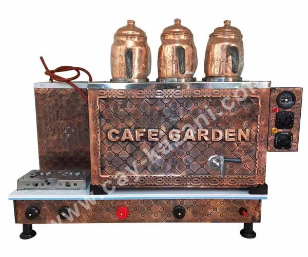 Bakır Çay Kazanı (Üçlü, Cafe Grden yazısı işlemeli)
